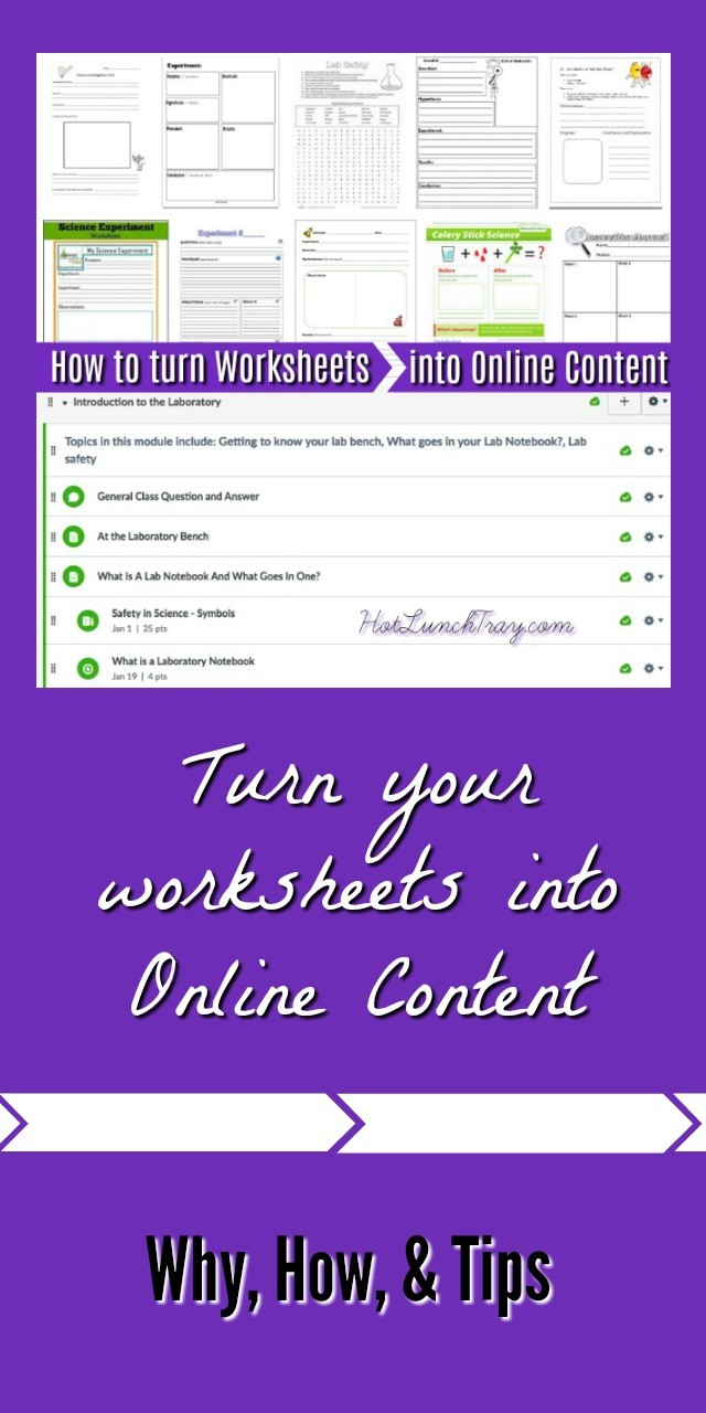 Worksheets into Online Content