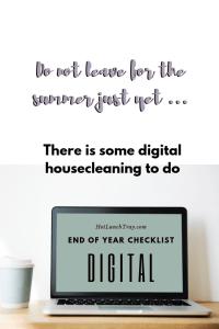 End of Year DIGITAL Checklist PIN