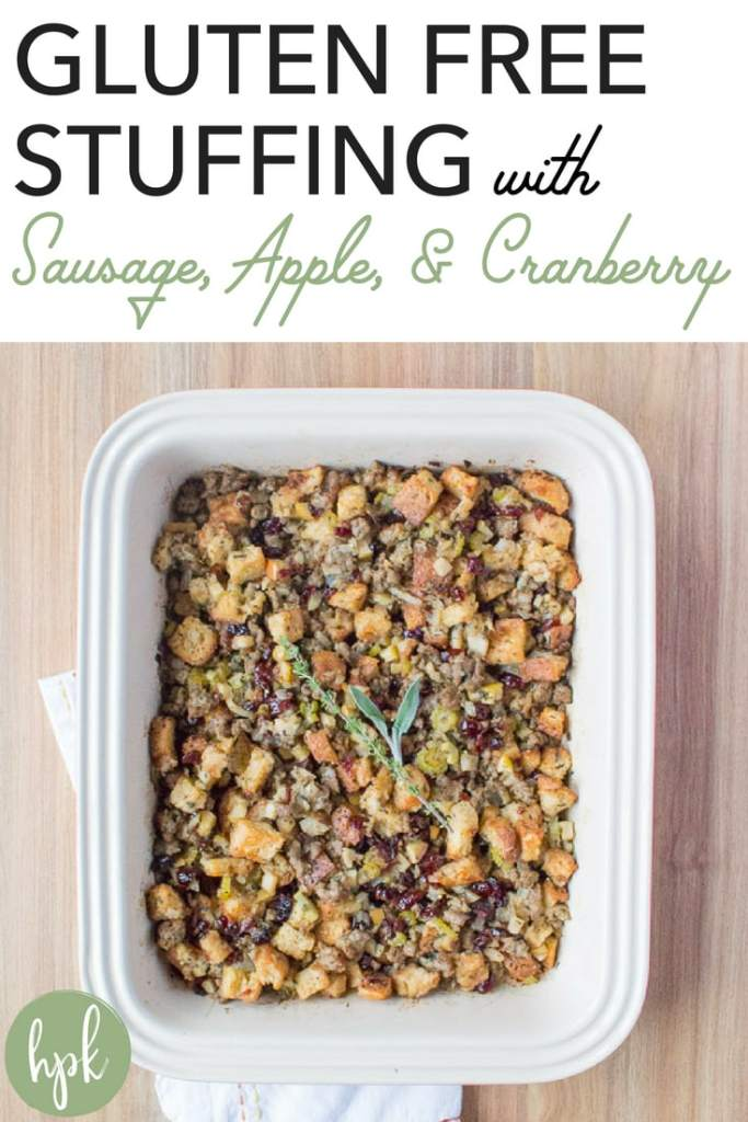 Need a gluten free recipe for Thanksgiving dinner? This Gluten Free Stuffing with Sausage, Apple, & Cranberry tastes just like the real thing - no one will know the difference! #glutenfree #thanksgiving #stuffing #holiday #dinner