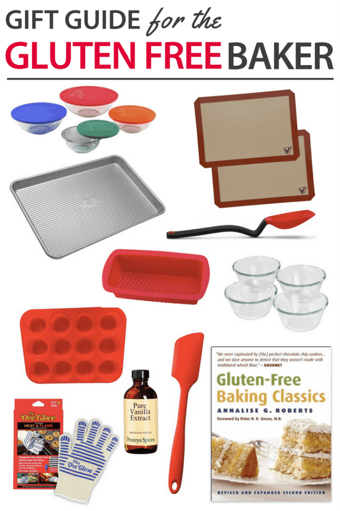 Looking for Gluten Free Gift Ideas for friends or family? This simple list of items are sure to go over well for the gluten free baker. Give one on it's own or put smaller ones together for a gift basket. Gift a Happy Holidays! #glutenfree #gifts
