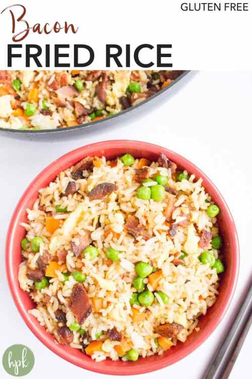 This Bacon Fried Rice is a gluten free comfort food, made slightly healthy with the addition of veggies. It's an easy recipe for family dinners, or put an egg on top and eat it for breakfast. Click to get to the recipe! #bacon #glutenfree