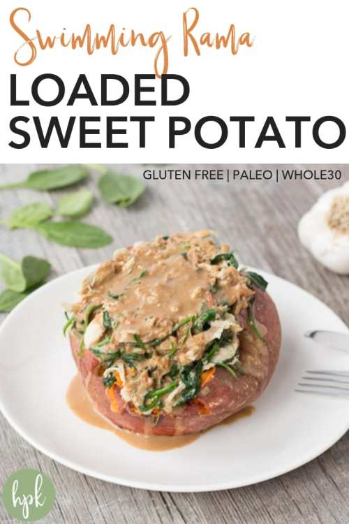 This Swimming Rama Loaded Sweet Potato recipe is a quick meal when you're running low on options. It has five main ingredients, one of which is rotisserie chicken to make things super easy. It's also paleo and Whole30, so is a healthy dinner option when you're craving Thai food. Put it on your dinner menu and see for yourself! #glutenfree #sweetpotato #thaifood #dinner