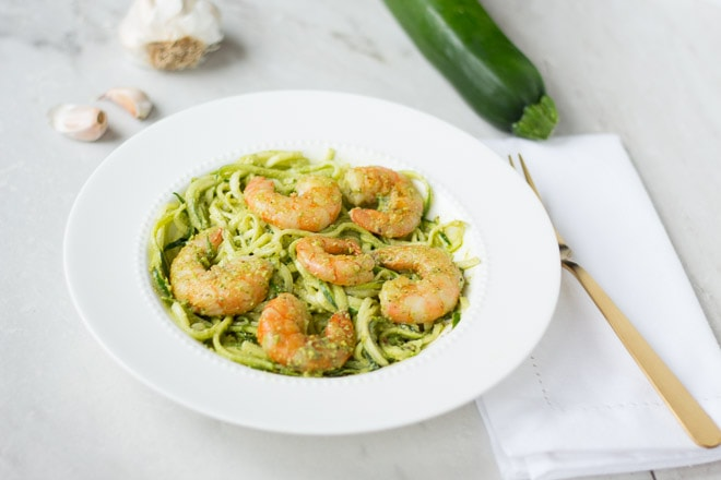 Pesto Prawns with Zoodles