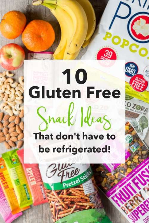 This list of 10 Gluten Free Snack Ideas that don't have to be refrigerated is good for kids or for adults who are on the go. There are some healthy options and some sweet options, but all are easy and quick. Check them out for your next trip! #glutenfree #snacks