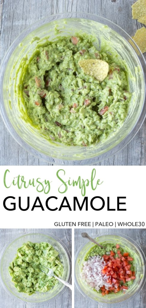 This Citrusy Simple Guacamole recipe (which is gluten free) takes about 15 minutes to make, perfect for a last minute appetizer. It uses lime juice and orange juice, cut up tomatoes, and shallots instead of onions to give it a little less bite. Dip some tortilla chips in it and watch it disappear! #glutenfree #avocado