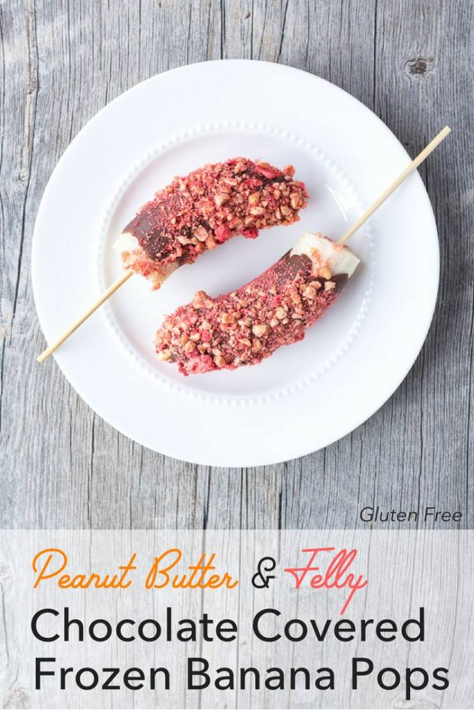 Pinterest image of peanut butter and jelly chocolate covered frozen banana pops