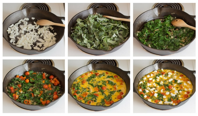 six step process shot of assembling breakfast frittata on the stove