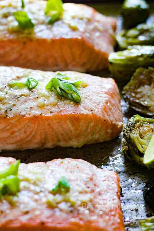 Buttery Garlic Salmon with Brussels Sprouts