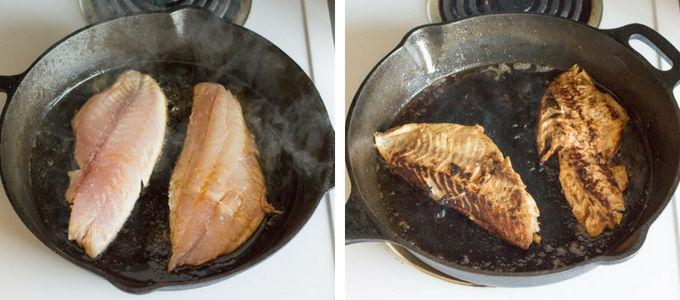 process shot of cooking easy fish tacos in a cast iron skillet