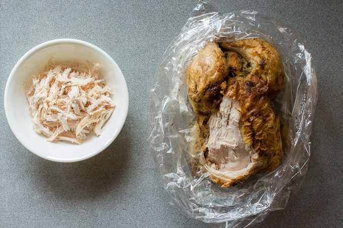 a rotisserie chicken on the right in a plastic bag with the left breast shredded into a white bowl on the left