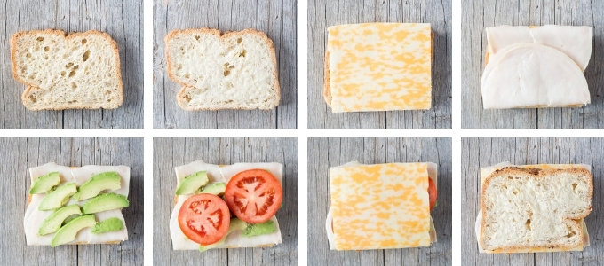 eight step process shot of gluten free grilled cheese sandwich