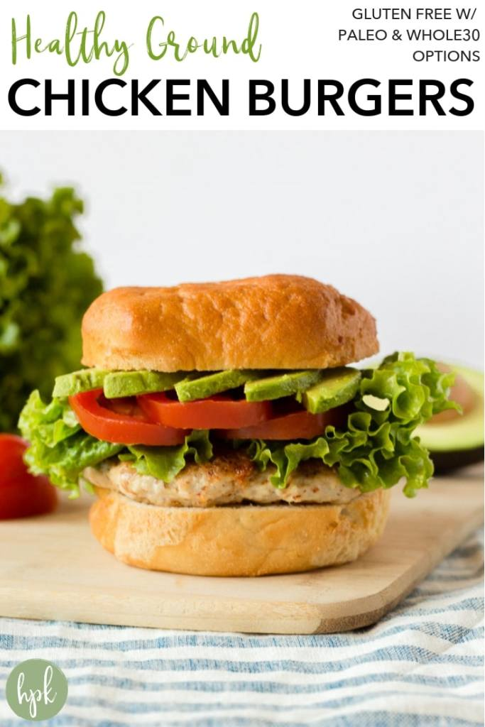 These Healthy Ground Chicken Burgers are an easy homemade recipe for a busy weeknight. Made with almond flour instead of bread crumbs and using simple seasoning, they're also paleo and whole 30 compliant when eaten without a bun. #glutenfree #chickenburger
