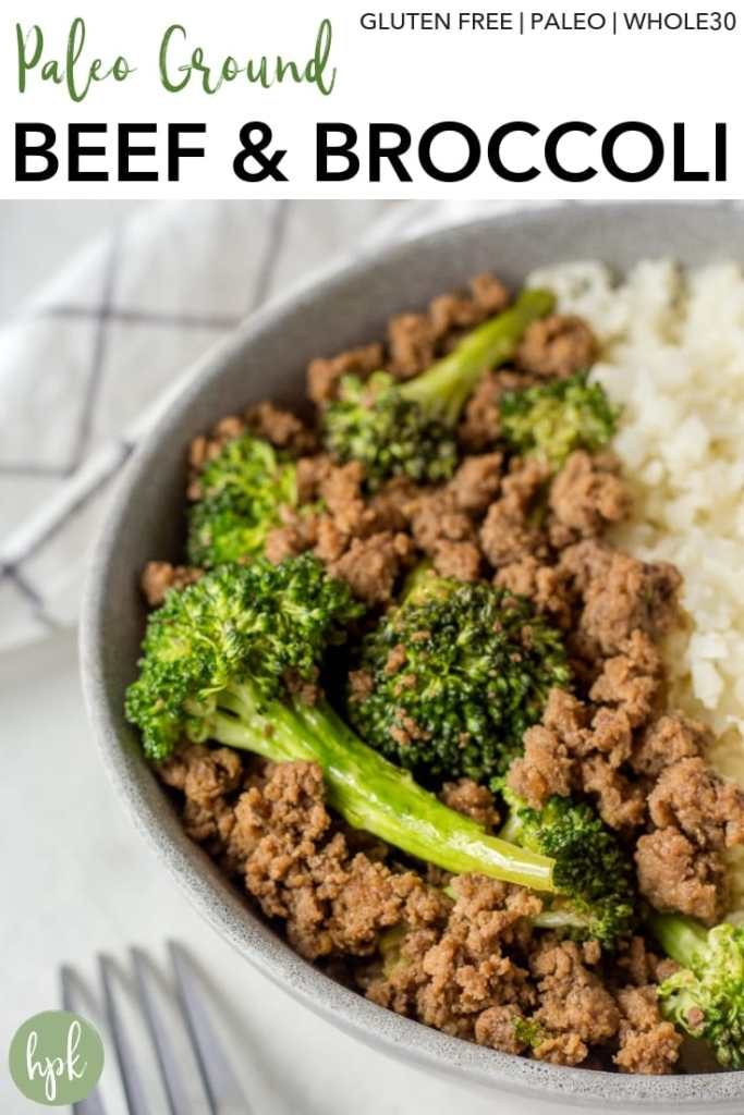 This Paleo Ground Beef and Broccoli stir fry is a healthy weeknight meal that can be made in 15 minutes. It's both gluten free and Whole 30 compliant and is great for hungry families. Serve it with cauliflower rice for an extra boost of veggies. #groundbeef #stirfry #paleo #whole30