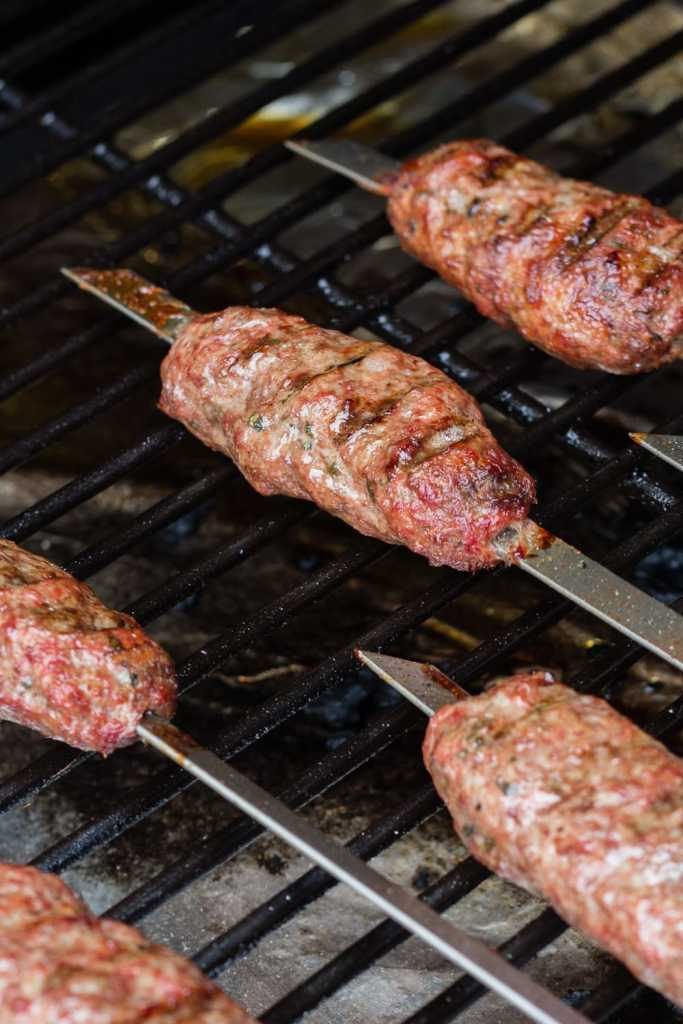 lamb skewers on a grill