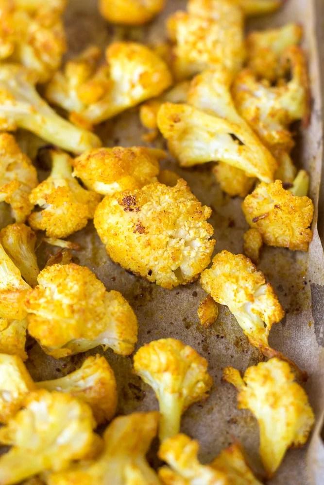 close up of roasted cauliflower