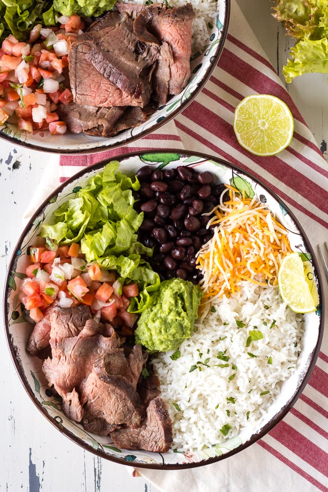 top down shot of steak burrito bowls