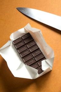 bar of chocolate on cutting board