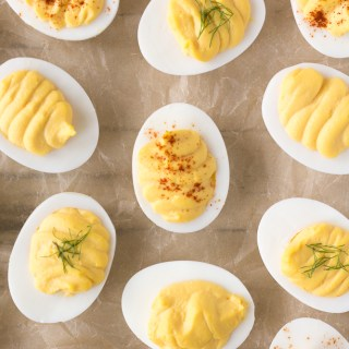 top down shot of instant pot deviled eggs