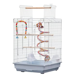 "23"" Metal Bird Cage with Open Play Top with 2 Additional Toys White"