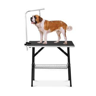 Foldable Pet Grooming Table with Mesh Tray and Adjustable Arm