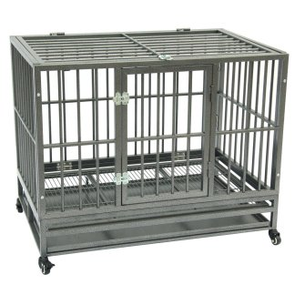 "42"" Heavy Duty Dog Cage, Portable With Tray, Silver"