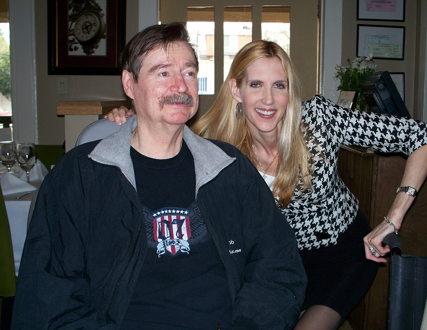 Jim Robinson (left) with another one of our famously idiotic political commentators, Ann Coulter.