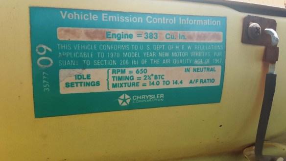 035 1970 dodge d 100 pickup truck engine sticker