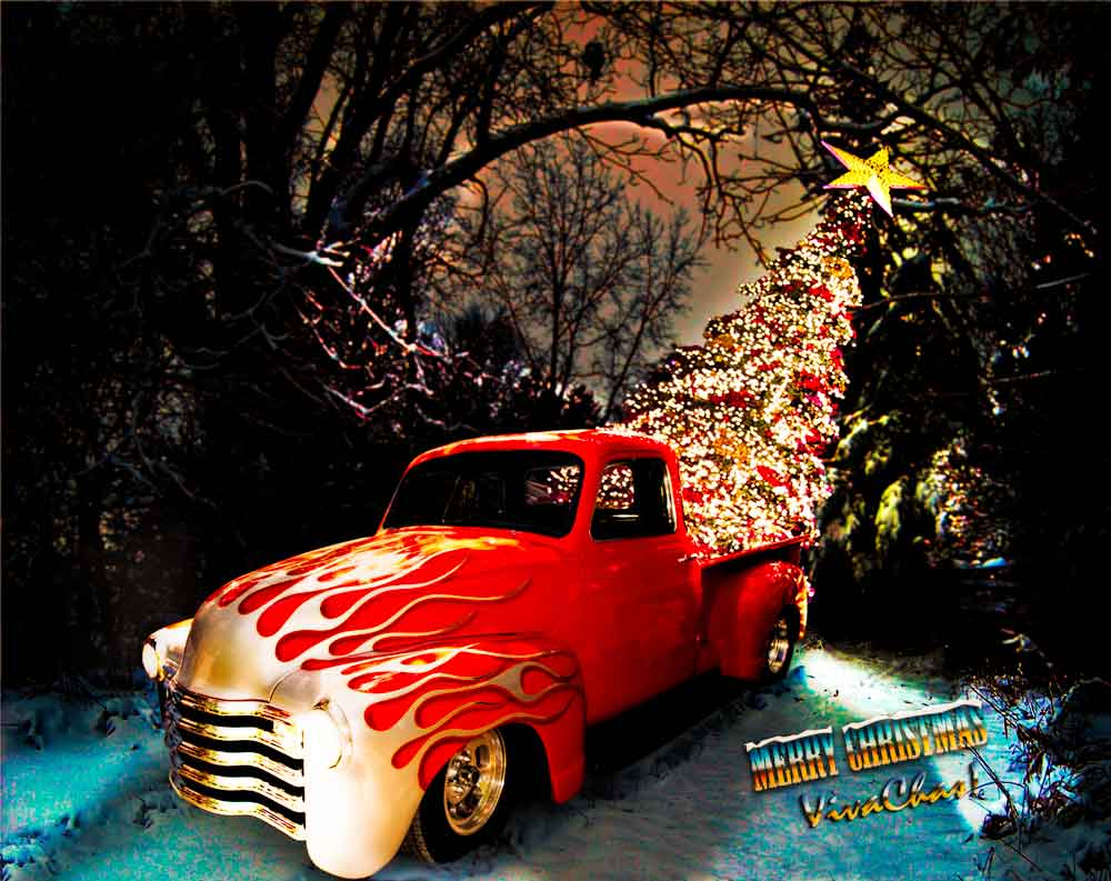 Hot Rod Merry Christmas From VivaChas Christmas Cheer