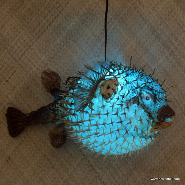 Vintage Style Puffer Fish Lamp Blue Extra Large 18