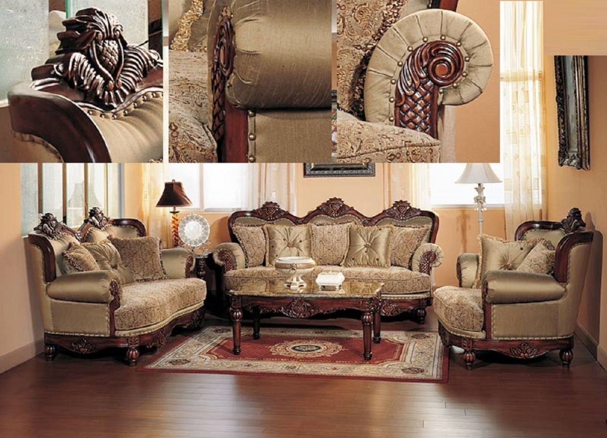 appealing traditional fabric sofas living room furniture | Formal Traditional Cherry Fabric Sofa Set Chair | Hot ...