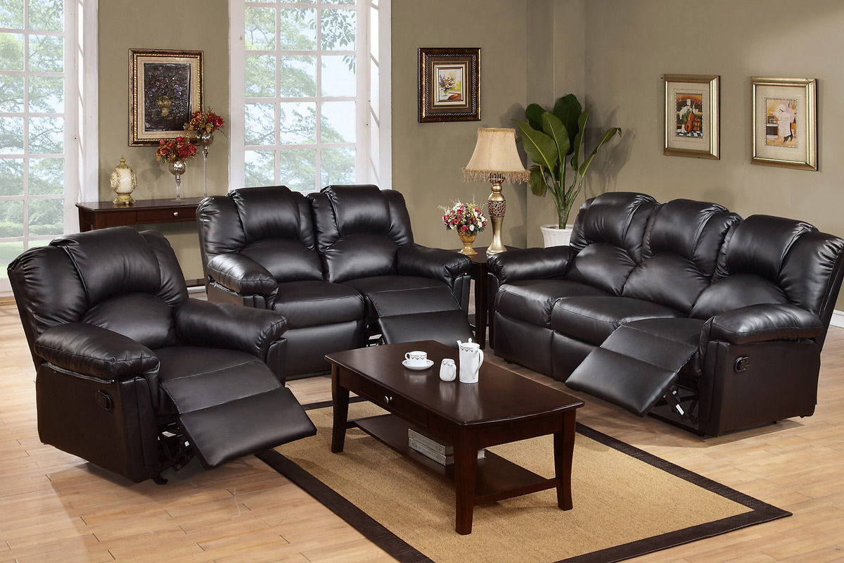 Reclining Set Motion Sofa Loveseat recliner Chair Black Leather #F6671