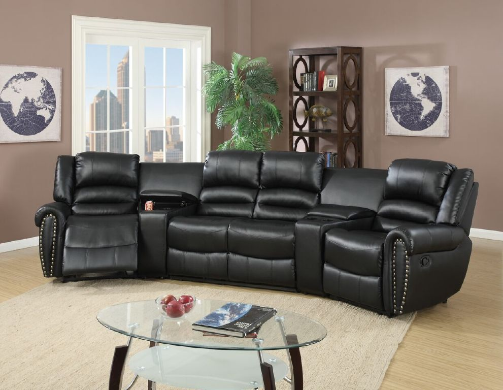 theater living room furniture reclining sectional console black leather poundex f6747 14495