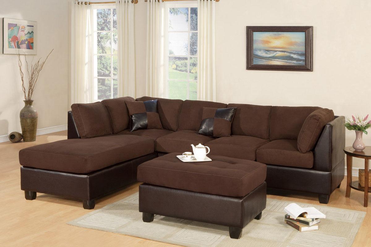 Sectional w Ottoman Microfiber Chocolate L/R Chaise Sofa #F7615