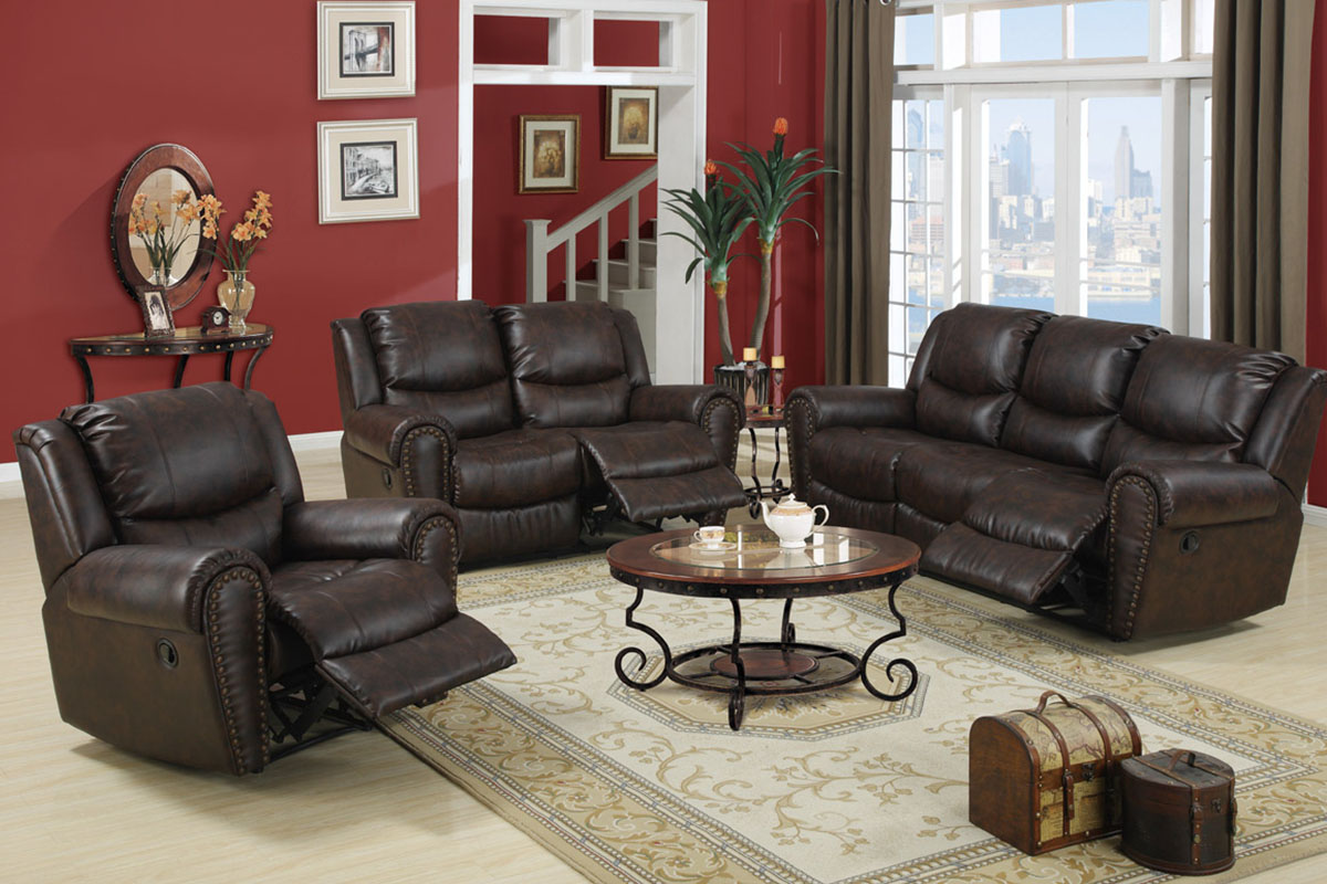 contemporary reclining sofa set poundex f7737 hot sectionals. Black Bedroom Furniture Sets. Home Design Ideas