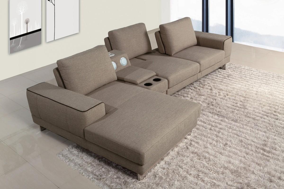 Sectional Sofa Modern Console Chaise Fabric Divani Casa Gatsby #VGMB1374