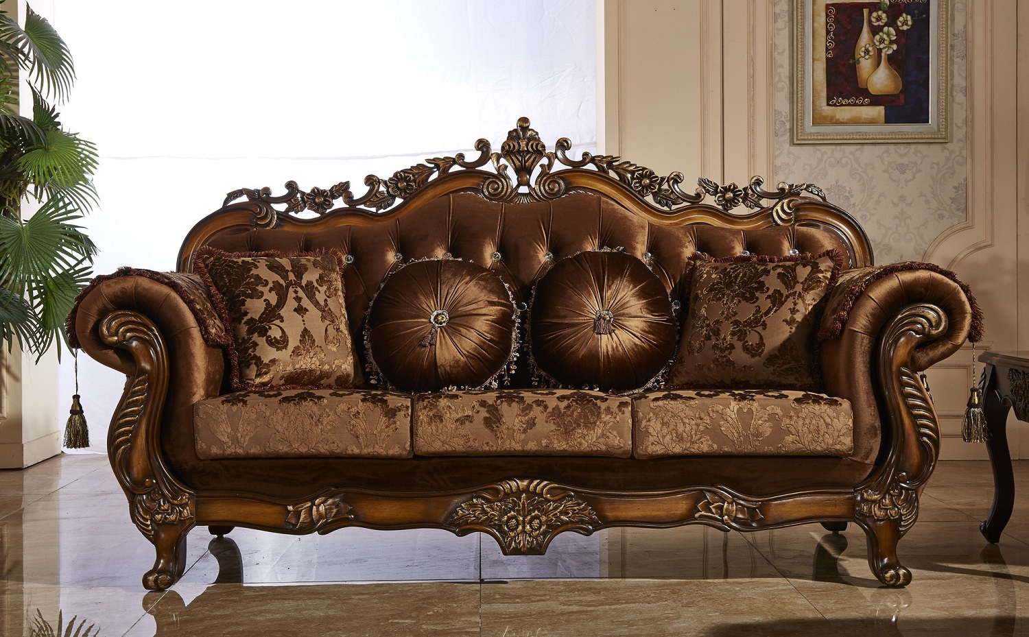 Traditional Sofa Cherry Living Room Furniture Hot Sectionals
