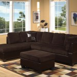 Espresso Pu Corduroy Chocolate Reversible Sectional Sofa Set Sofa Chaise Couch