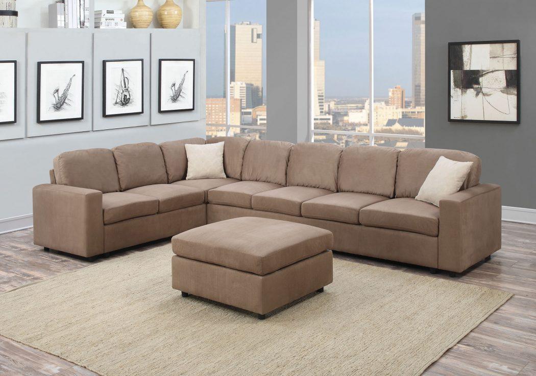 2pc Sectional Sofa Set Saddle Sofa Loveseat Wedge Plush Couch Microfiber  Living Room