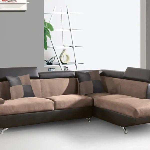 New! 2pc Sectional Sofa Faux Leather Suede & Espresso Sofa & Chaise Living  Room