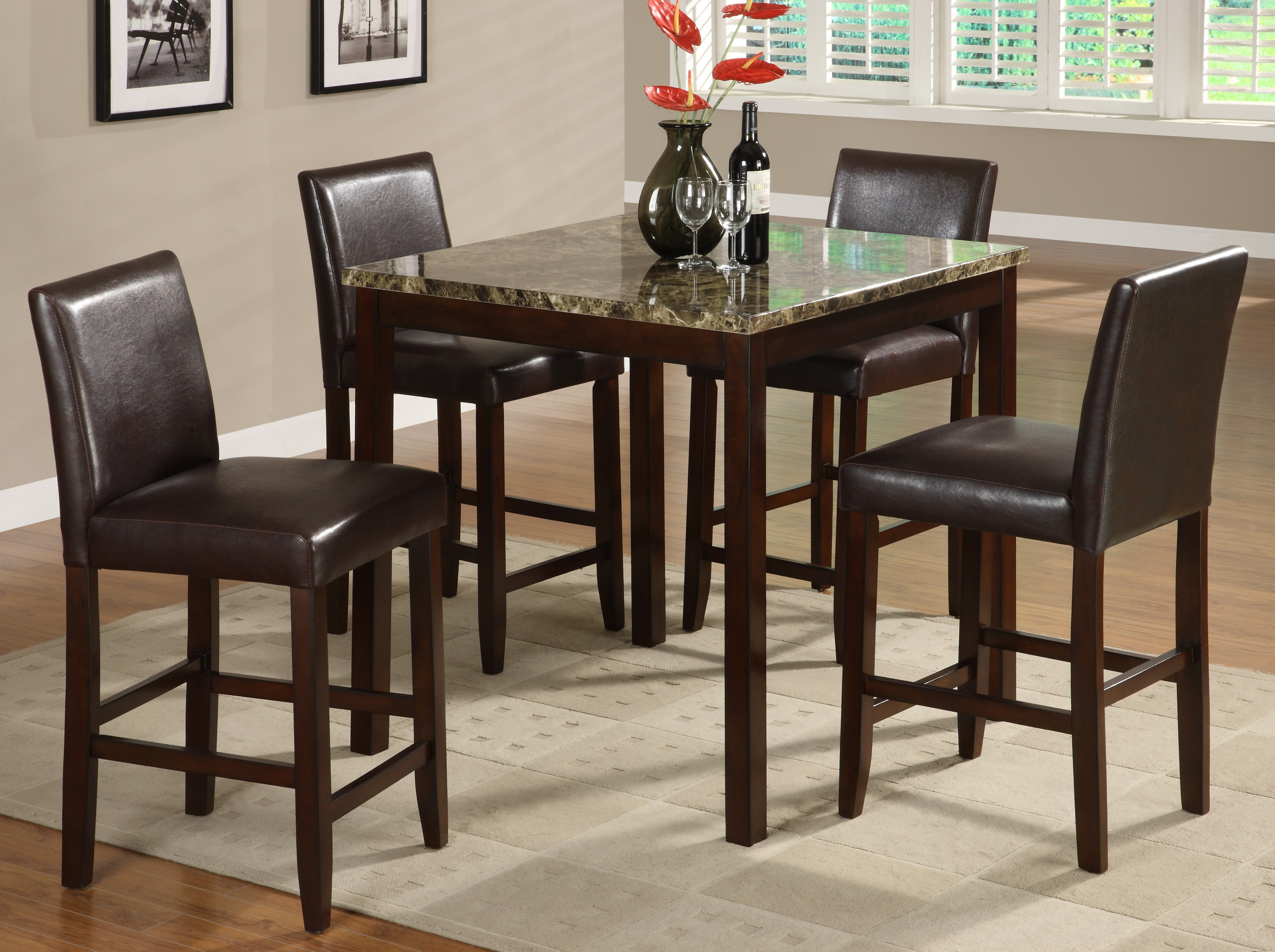5pc Set Couter Height Marble Table 4 Chairs Hot Sectionals