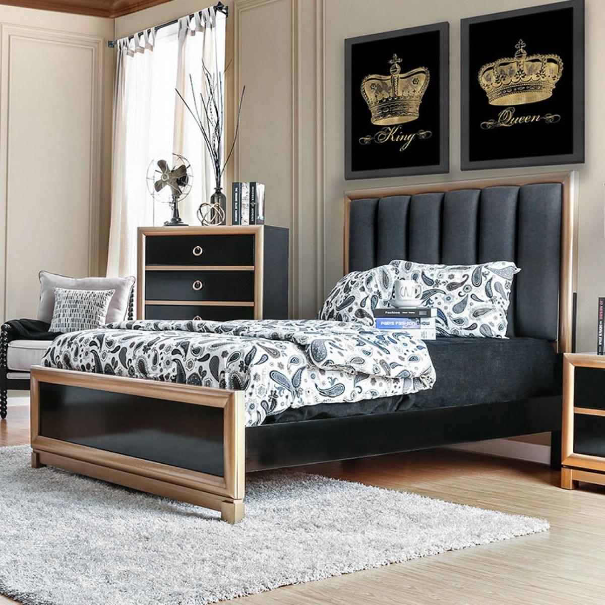 Bedroom Furniture Queen Bed Black Gold FOA