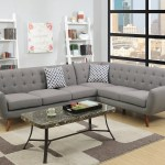 2 Piece Sectional Sofa Living Room Grey Linen Like Fabric Sofa Loveseat Wedge Tufted Cushion Couch