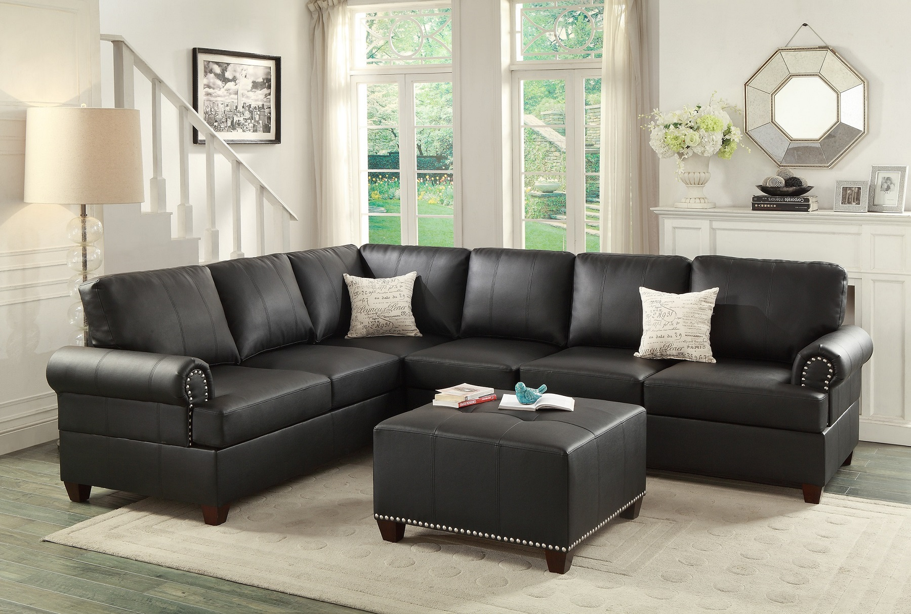 2pcs sectional sofa black modern bonded leather couch sofa l r loveseat wedge reversible sectionals