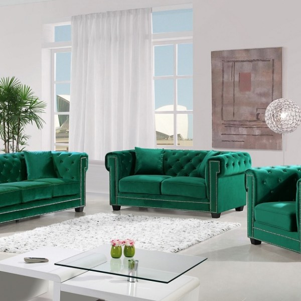 Modern Design 3pc Set Green Velvet Fabric Tufted Back Sofa w/ Rolled Arms  Wood Legs Living Room Furniture