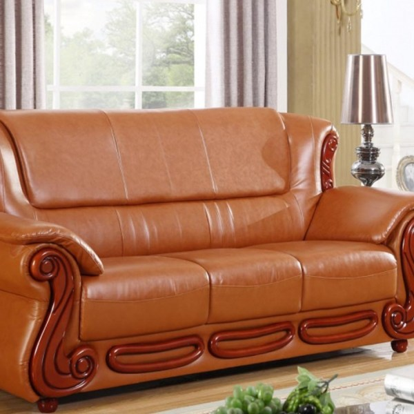 Meridian Bonded Leather Living Room Sofa Cognac Finish Traditional Style