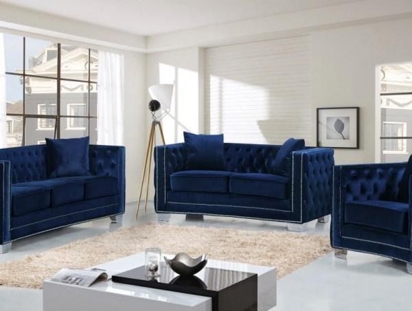 Meridian 648 Navy Velvet Living Room Sofa Set 2pc. Chic Contemporary Style  Sofa & Loveseat