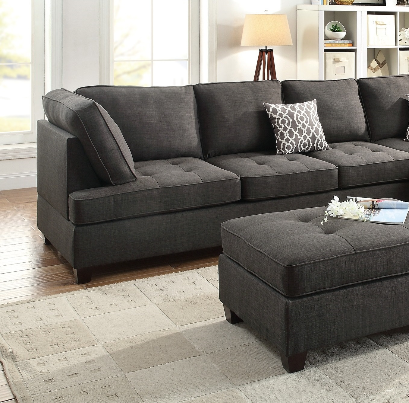 Black Sectional Sofa Chaise Poundex F6988 Hot Sectionals
