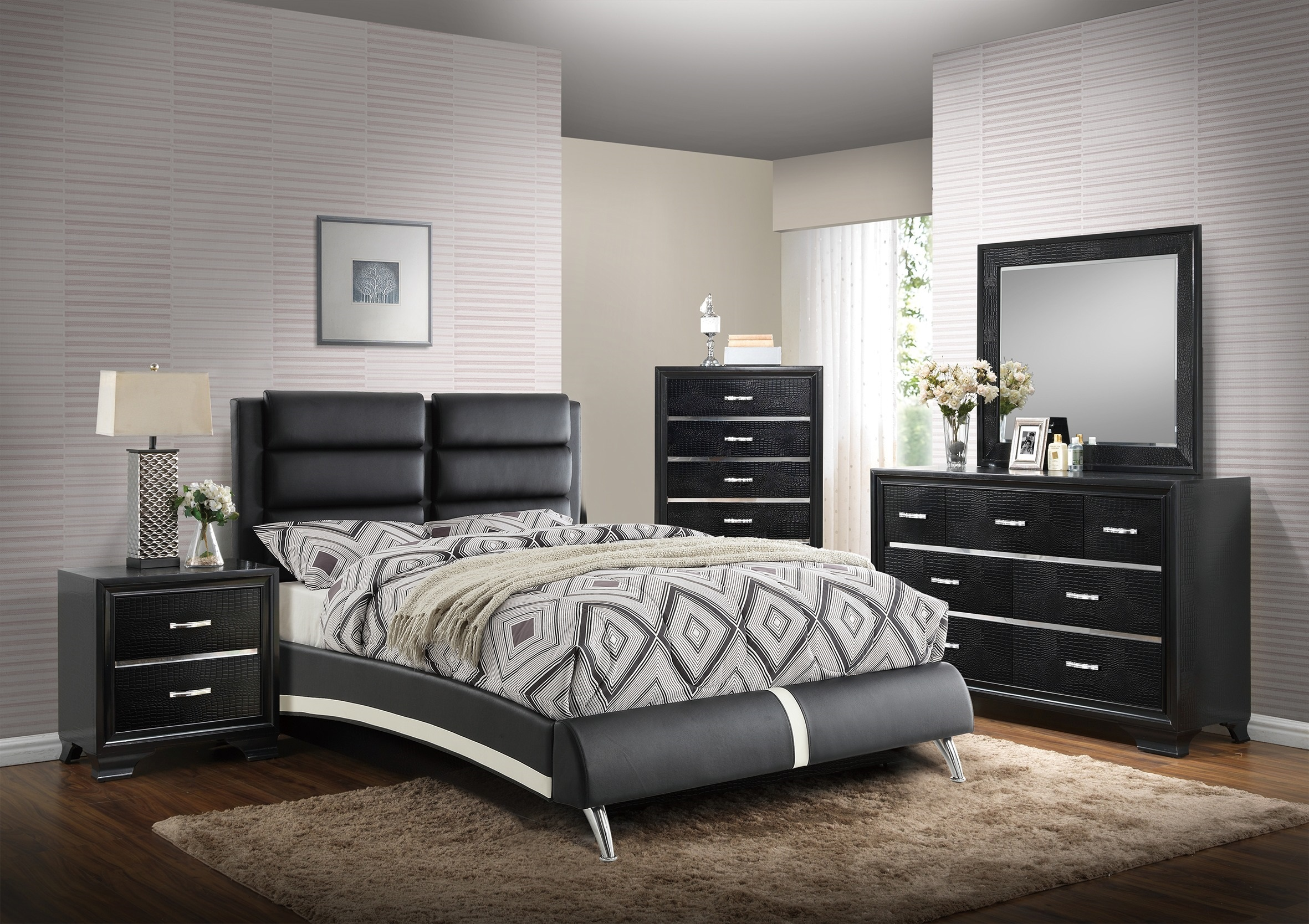 Bedroom Furniture 4pc Set Black Faux Leather Eastern King Size Bed Set Dresser Nightstand Mirror
