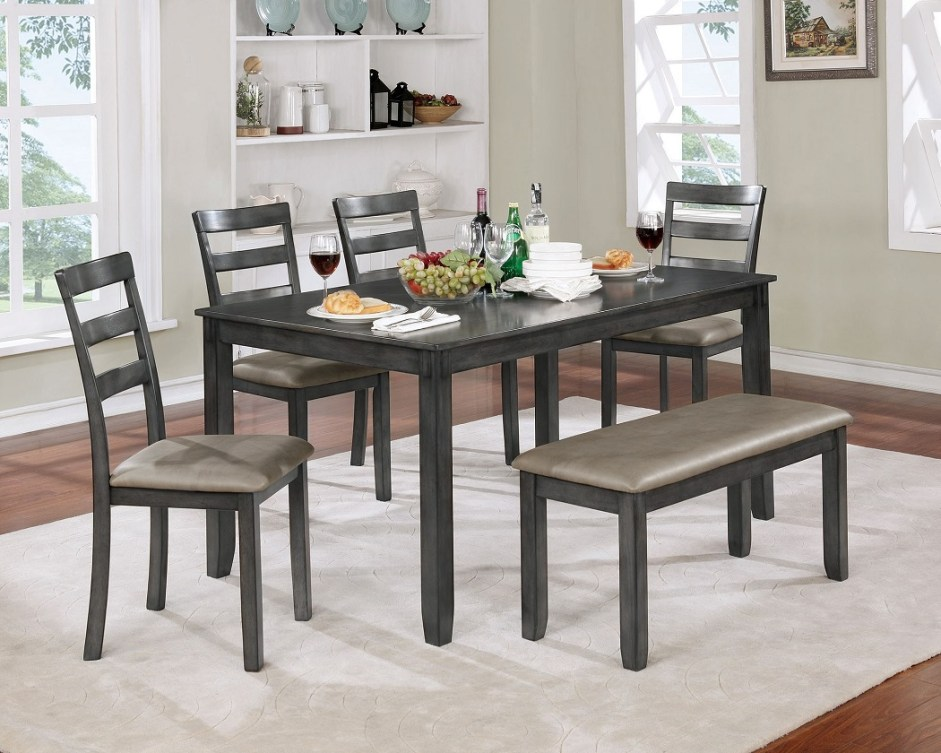 Dining Room Gray Table Bench Amp Chair 6pc Set Hot Sectionals