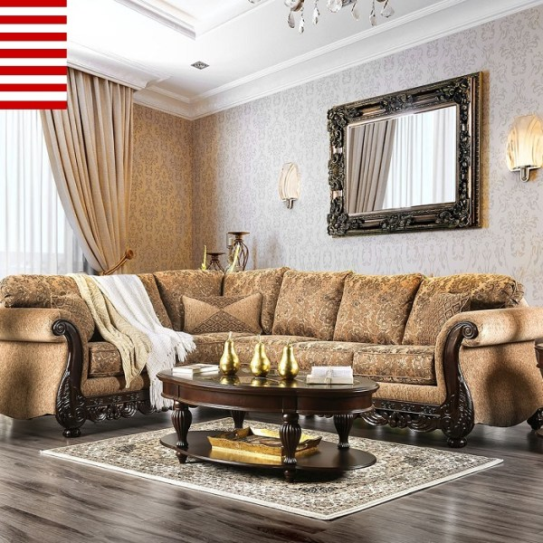Traditional Made In USA Living Room Furniture 2pc Sectional Sofa Set Tan  Color